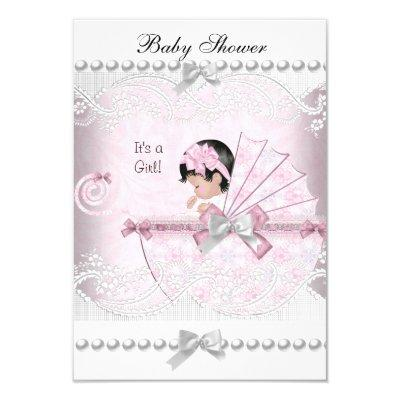 Vintage Cute Girl Pretty Pink Invitations
