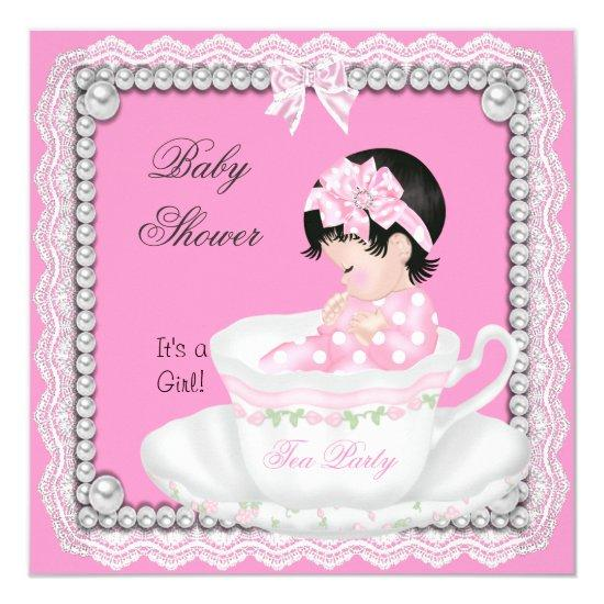 Vintage Baby Shower Girl Pink Baby In Teacup Card Baby Shower