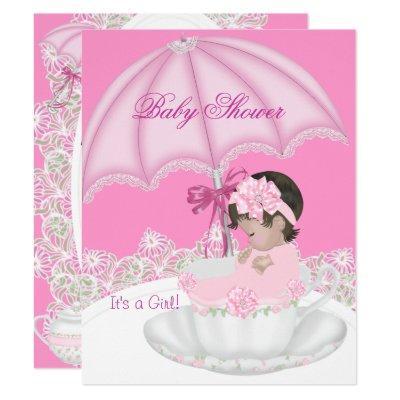 Vintage Baby Shower Girl Pink Baby in Teacup Invitation