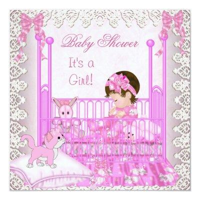 Vintage Baby Shower Girl Pink Lace Cute Kitten Invitations