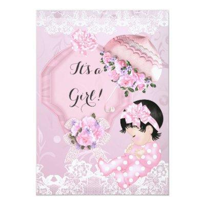 Vintage Baby Shower Girl Pink Parasol Roses Invitation
