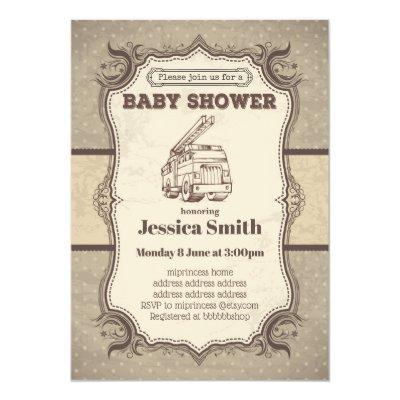 Vintage BABY SHOWER invitation - toy fire truck