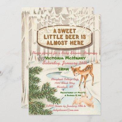 Vintage Baby shower Winter woodland Deer Girl Invitation
