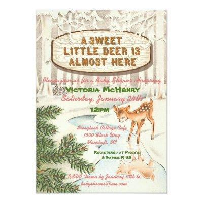 Vintage Baby shower Winter woodland Deer Girl Invitation