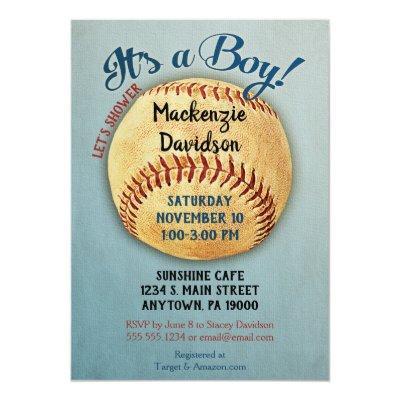 Vintage Baseball Baby Shower Invitation Boy Sports