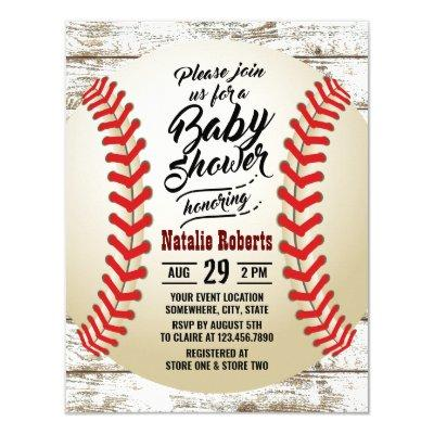 Vintage Baseball Rustic Barn Wood Baby Shower Invitation