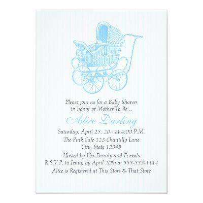 Vintage Blue Baby Carriage Baby Shower Invitation