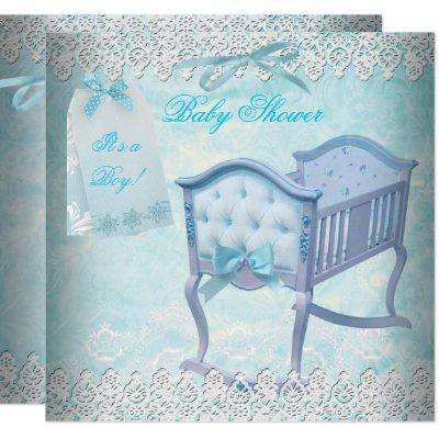 Vintage Boy Baby Shower Blue Lace Crib Invitation