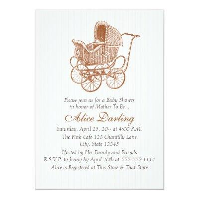Vintage Brown Baby Carriage Baby Shower Invitation