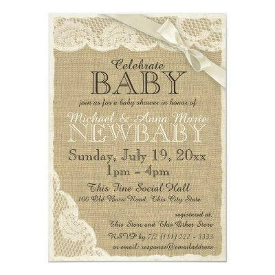 Vintage Burlap and Lace with Bow Baby Shower Invitation