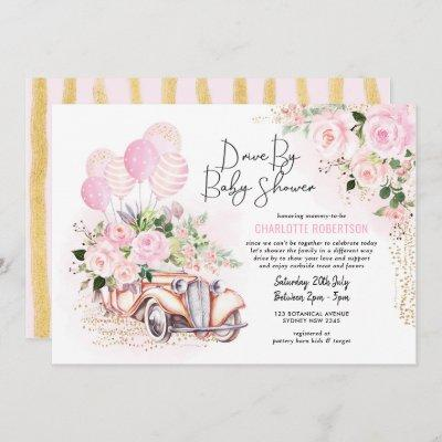 Vintage Car Pink Gold Floral Drive By Baby Shower Invitation