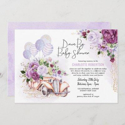 Vintage Car Purple Floral Drive Thru Baby Shower Invitation