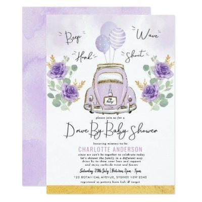 Vintage Car Violet Flowers Drive By Baby Shower Invitation