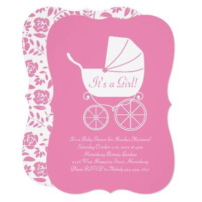 Vintage Carriage Baby Shower Cute Pink Girl Invitation