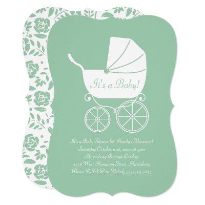 Vintage Carriage Baby Shower Green Gender Neutral Invitation