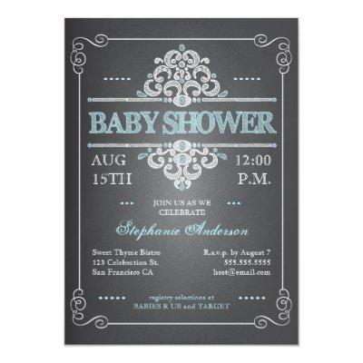 Vintage Chalkboard Boy Blue Invitations