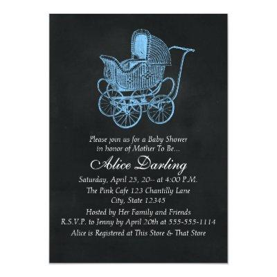 Vintage Chalkboard Blue Baby Carriage Baby Shower Invitation