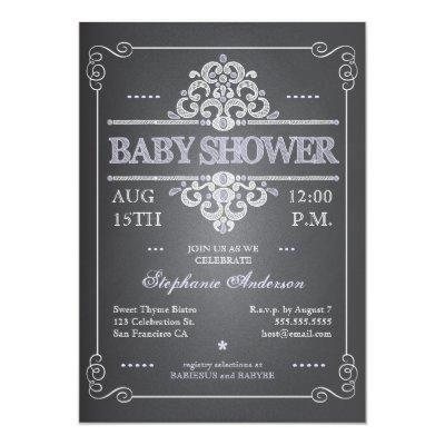 Vintage Chalkboard Girl Baby Shower Invitations