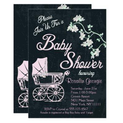 Vintage Chalkboard Pink Baby Shower, Invitation
