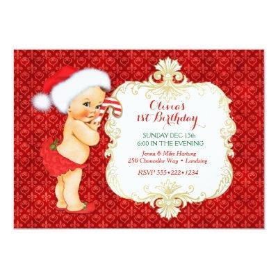 Vintage Christmas Baby Girl Birthday Shower Invitations