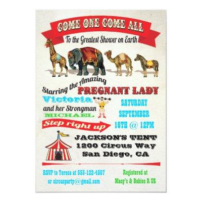 Vintage Circus Baby Shower Invitation Baby Shower Invitations Baby