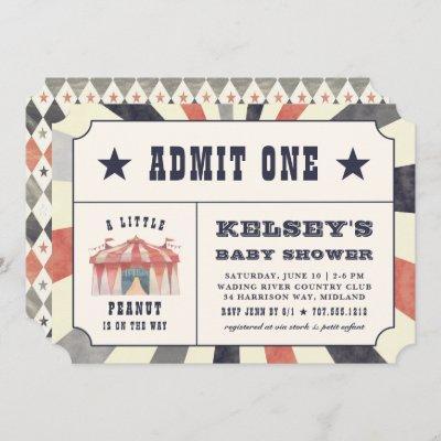 Vintage Circus Ticket Baby Shower Invitation