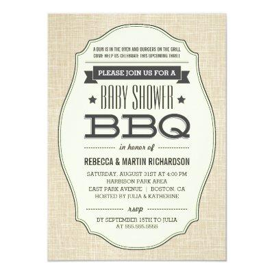Vintage Couples BBQ Baby Shower Invitations