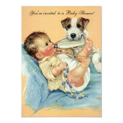 Vintage Cute Baby Bottle Puppy Dog, Baby Shower Invitation
