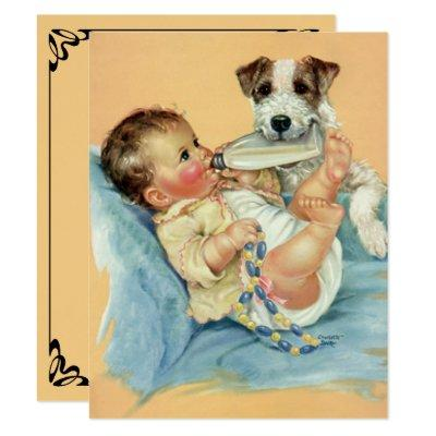 Vintage Cute Baby with Dog,