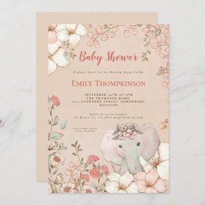 Vintage Cute Elephant Botanical Peach Baby Shower Invitation