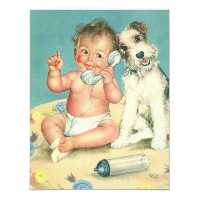Vintage Cute Puppy Baby Shower Party Invitation