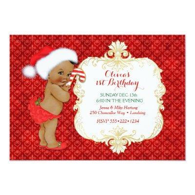 Vintage Ethnic Christmas Baby Girl Birthday Shower Invitations