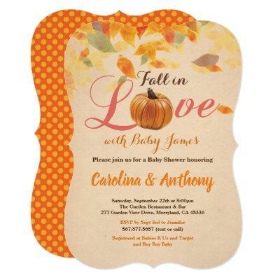Vintage fall pumpkin baby shower invitation rustic
