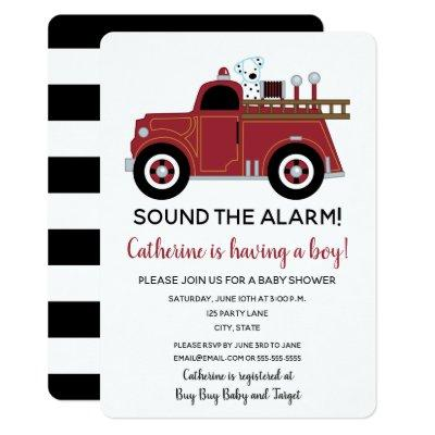 Vintage Fire Truck Baby Shower Invitation