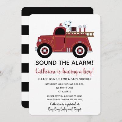 Vintage Fire Truck Baby Shower Invitation