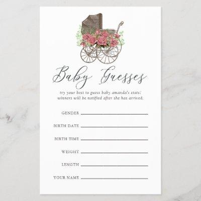 Vintage Floral Baby Carriage Baby Shower Guesses