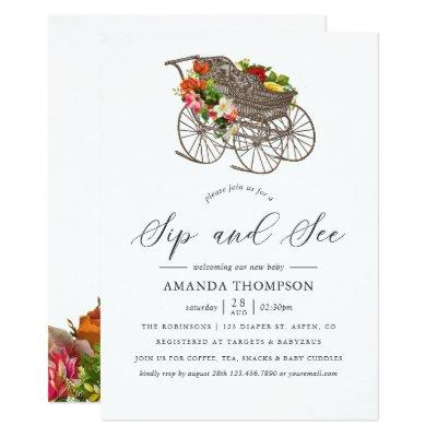 Vintage Floral Baby Carriage Baby Shower Sip & See Invitation