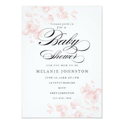 Rose garden baby shower invitations baby shower invitations baby vintage floral vintage floral vintage garden rose bridal shower invitations filmwisefo Image collections