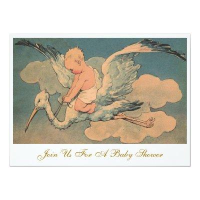 Vintage Flying Stork Elegant Gender Baby Shower Invitations