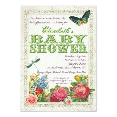 Vintage Garden Baby Shower Invitations - Green