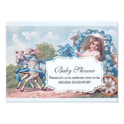 Vintage Girl in Carriage with Lambs Baby Shower Invitation