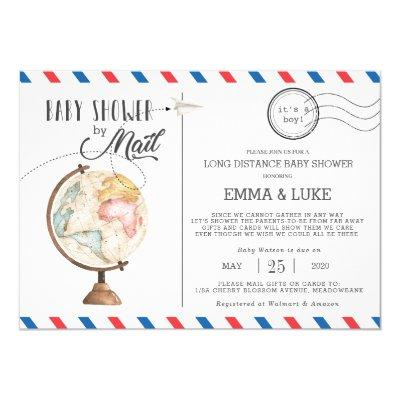 Vintage Globe Baby Shower by Mail Long Distance Invitation