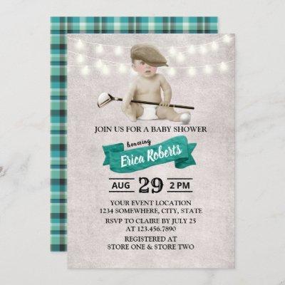 Vintage Golf Boy Sport Theme Baby Shower Invitation