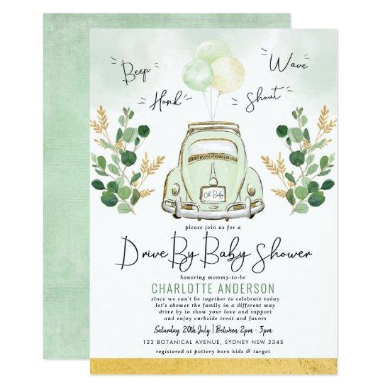 Vintage Greenery Gold Car Drive By Baby Shower Invitation