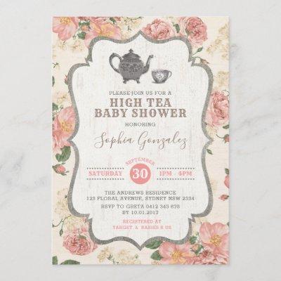 Vintage High Tea Baby Shower Pink Floral Rustic Invitation