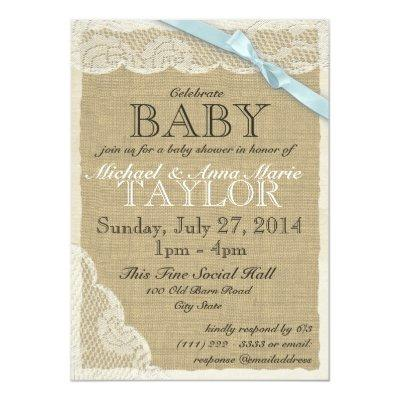 Vintage Lace and Bow Baby Shower Blue Invitations