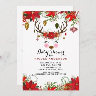 Vintage Modern Floral Reindeer Baby Shower Invitation