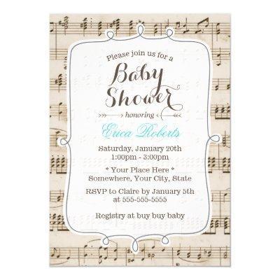 Vintage Music Notes Elegant Baby Shower Invitations