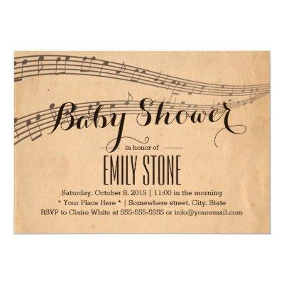 Vintage Music Notes Musical Baby Shower Invitations