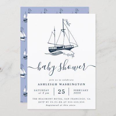 Vintage Navy Ship Nautical Baby Shower Invitation